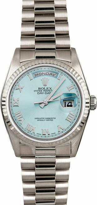 Rolex White Gold President 36mm Custom Ice Blue Dial  P18239IR