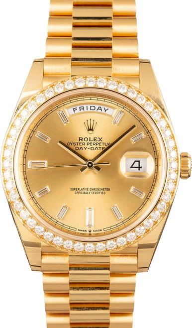 Rolex Men's Day Date President 40mm Yellow Gold Custom Diamond Bezel & Champagne Diamond Dial
