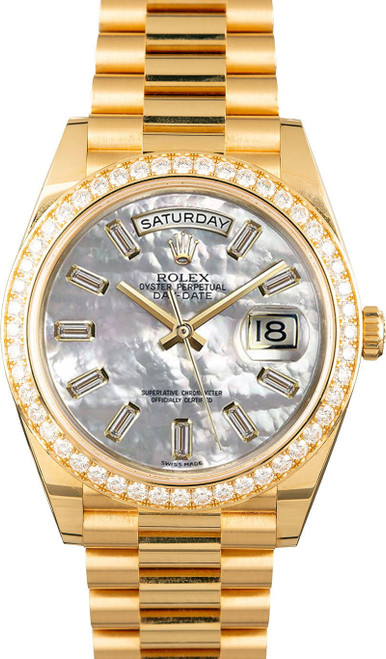 Rolex Men's Day Date President 40mm Yellow Gold Custom Diamond Bezel & Mother of Pearl Diamond Dial