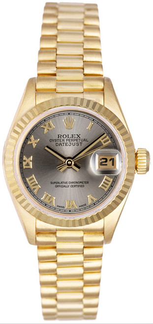Rolex Women's President Yellow Gold Fluted Silver Roman Dial