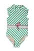 Fashion Flamingo Belt Ruffle Shoulder Swimsuit  by Shade Critters UPF50