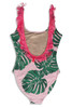 Women's Pink Botanical Fringe Back Scoop Swimsuit  by Shade Critters UPF50 Alt Image