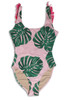 Women's Pink Botanical Fringe Back Scoop Swimsuit  by Shade Critters UPF50