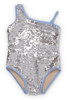 Periwinkle/Silver Flippable Sequins One Shoulder Swimsuit  by Shade Critters UPF50 Alt Image