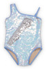 Periwinkle/Silver Flippable Sequins One Shoulder Swimsuit  by Shade Critters UPF 50 Alt image 2