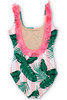 Women's Pink Cabana Botanical Scoop Swimsuit w/Fringe  by Shade Critters UPF50 Alt Image