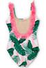 Women's Pink Cabana Botanical Scoop Swimsuit w/Fringe  by Shade Critters UPF50 Alt Image
