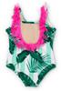 Mint Cabana Botanical Scoop Swimsuit w/Fringe  by Shade Critters UPF50 Alt Image