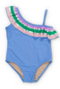 Periwinkle It's All Rainbows One Shoulder Swimsuit by Shade Critters UPF50