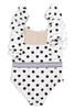 Black/White Polka Dot Ruffle Shoulder Swimsuit  by Shade Critters UPF50 Alt Image