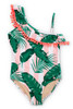 Tween Pink Cabana Botanical One Shoulder Swimsuit  by Shade Critters UPF50