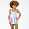 Lifestyle Shot of Silver Rib Knit 1PC Swimsuit & Pink Paillette Skirt
