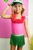 Hula Girl 1PC Swimsuit + Seagrass Fringe Skirt
