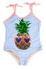 One Piece Flip Sequins - Pineapple Blue Pinstripe