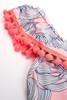 pic of One Shoulder One Piece w/ Pom Pom Trim - Pink Monstera