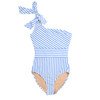 One Piece One shoulder - french blue asymmetrical stripe suit