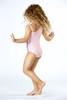 One Piece One shoulder -  light pink irredescent paillete suit