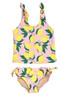 Two piece tankini - tie side yellow/pink  lemon print