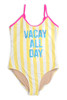 """alt pic of One Piece flip sequins - yellow striped """"vacay"""" suit"""