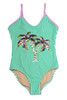 alt pic of One Piece flip sequins- green stripe palm trees suit