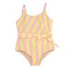 One Piece faux wrap - belted pink & yellow stripe suit