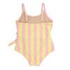 Back View of One Piece faux wrap - belted pink & yellow stripe suit