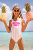 pic of One Piece reversible tank suit - pink pineapple stripe print suit