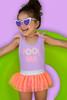 "alt pic of One Piece tanksuit w/ tutu - purple ""pool hair"" with athletic stripe detail"