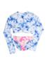 Two Piece cropped rash guard set - blue tie dye bikini