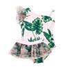 One Piece Luxe Organza Shoulder w/Tutu- Tropical Pink Palm
