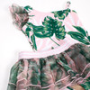 Detail of One Piece Luxe Organza Shoulder w/Tutu- Tropical Pink Palm