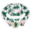 Two Piece Cropped Rashguard Set - Tropical Pink Palm