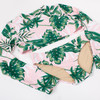 Detail of Two Piece Cropped Rashguard Set - Tropical Pink Palm