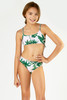 Detail of Two Piece Braided Strap Bikini- Tropical Pink Palm