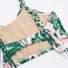 Detail of Pink Tropical Palm 2PC Braided Strap Bikini
