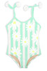 Striped Mint Daisy Magic Sequin 1PC Swimsuit