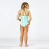 Back View of Striped Mint Daisy Magic Sequin 1PC Swimsuit