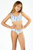 Detail of Two Piece Tie Back Bikini- Cabana Striped Daisy