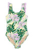 Yellow Tropical Oasis 1PC Fringe Back Swimsuit