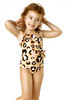 Front View of Leopard Ruffle 1PC Swimsuit