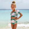 picture of SG06B-159 -high waist puff sleeve bikini - pink palm
