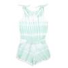 Cotton Terry Tie Dye Romper - Mint