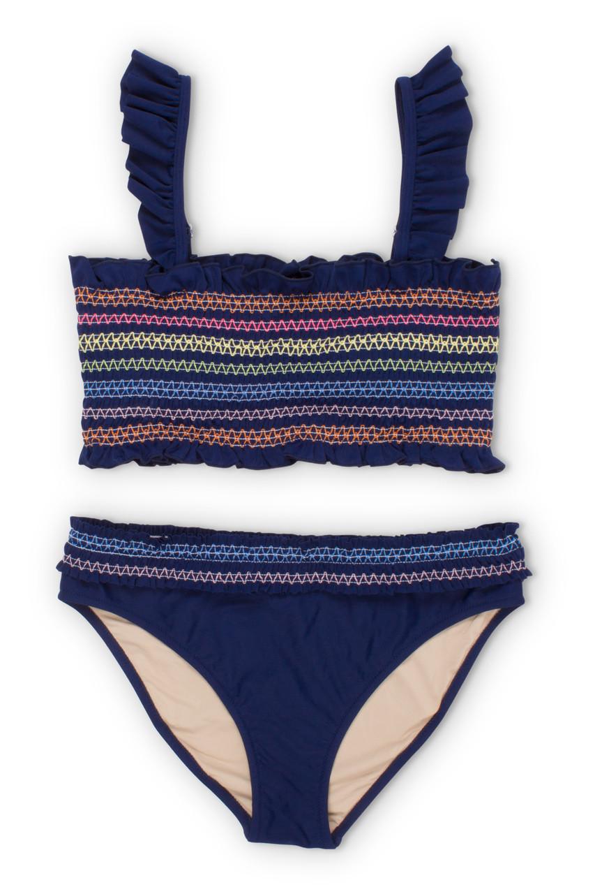 156b87058cb Women's Rainbow Smocked Bikini Set
