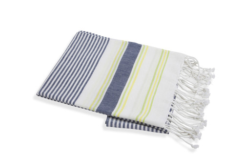 Quick Dry Woven Beach Towel - Navy/Lime/Yellow by Shade Critters