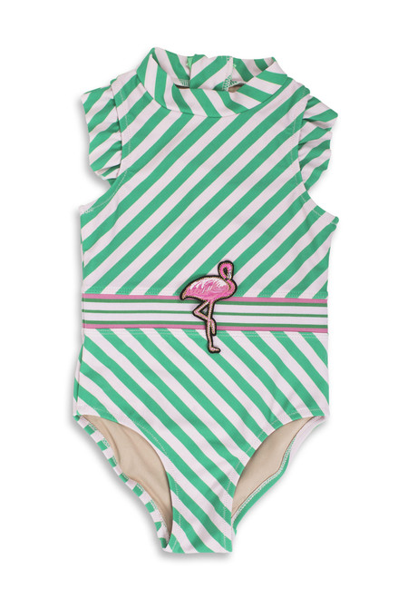 Fashion Flamingo Belt Ruffle Shoulder Swimsuit  by Shade Critters UPF50