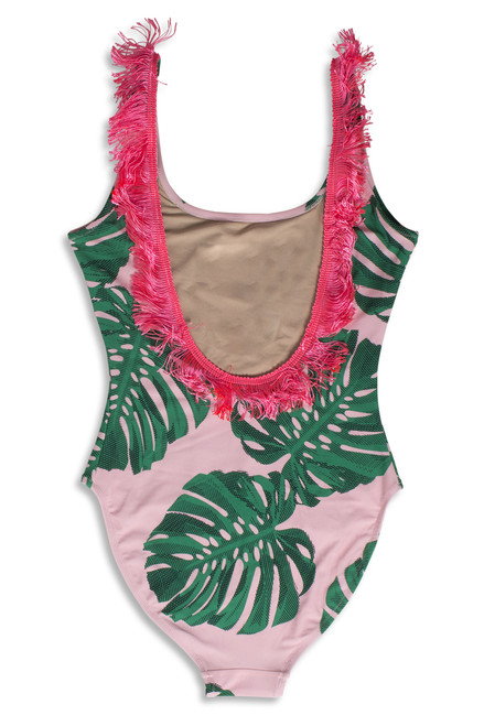 Women's Pink Botanical Fringe Back Scoop Swimsuit  by Shade Critters UPF50 Alt Image