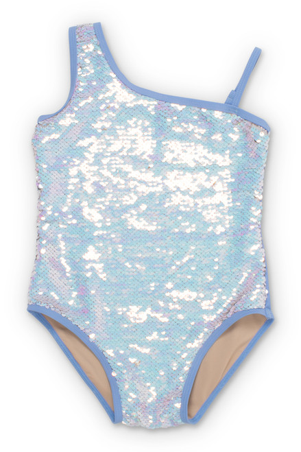 Periwinkle/Silver Flippable Sequins One Shoulder Swimsuit  by Shade Critters UPF50