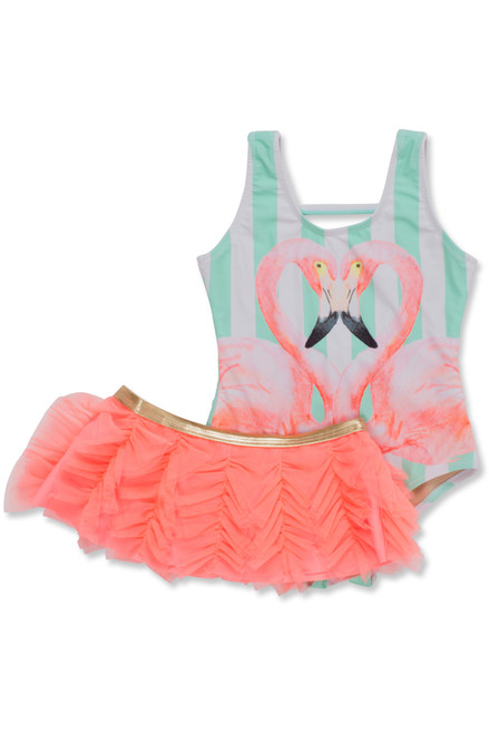 Flamazing Scoop Swimsuit Set  by Shade Critters UPF50