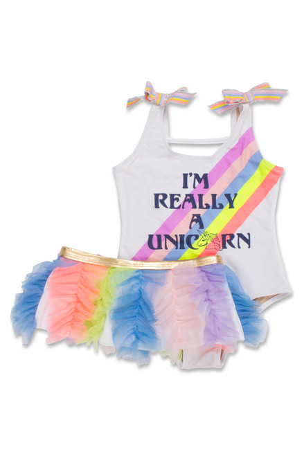 I'm Really a Unicorn Scoop Swimsuit Set (Unicorn changes color in the sun)  by Shade Critters UPF50