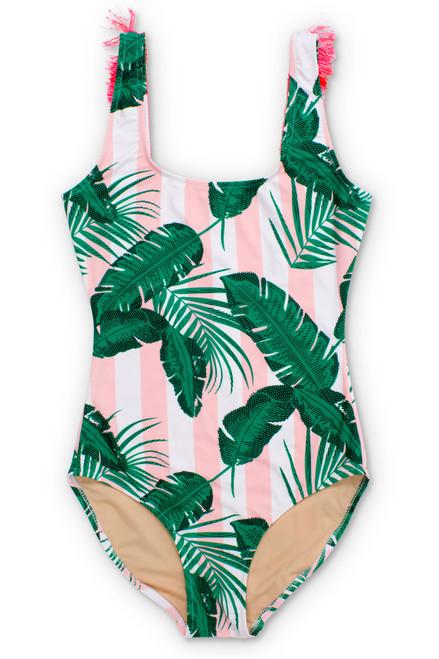 Women's Pink Cabana Botanical Scoop Swimsuit w/Fringe  by Shade Critters UPF50